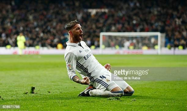 Sergio Ramos of Real Madrid celebrates after scoring during the La Liga match between Real Madrid CF and RC Deportivo La Coruna on December 10 2016...