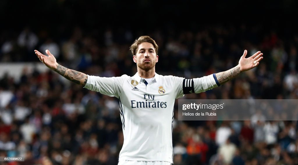Sergio Ramos of Real Madrid celebrates after scoring during the La Liga match between Real Madrid and Real Betis Balompie at Estadio Santiago Bernabeu on March 12, 2017 in Madrid, Spain.