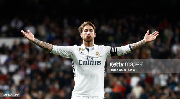 Sergio Ramos of Real Madrid celebrates after scoring during the La Liga match between Real Madrid and Real Betis Balompie at Estadio Santiago...