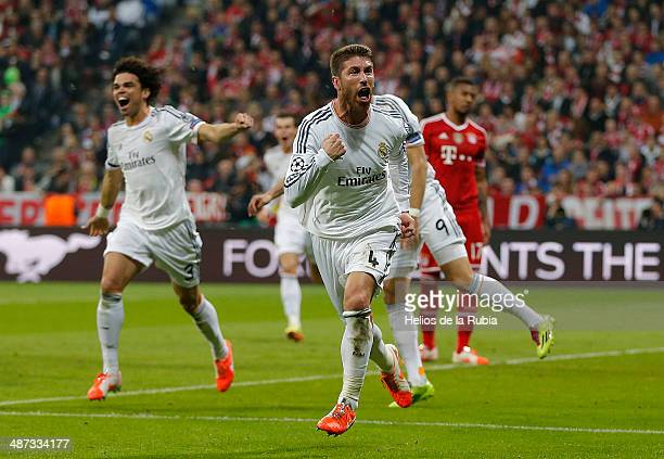 Sergio Ramos of Real Madrid celebrates after scoring during the UEFA Champions League Semi Final second leg match between FC Bayern Muenchen and Real...