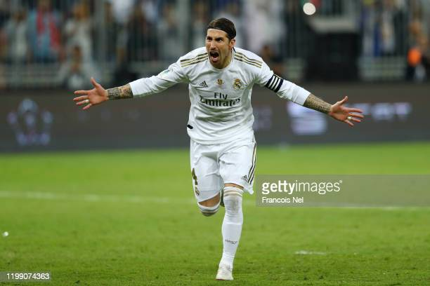 Sergio Ramos of Real Madrid celebrates after scoring from the penalty spot for his teams victory in the Supercopa de Espana Final match between Real...