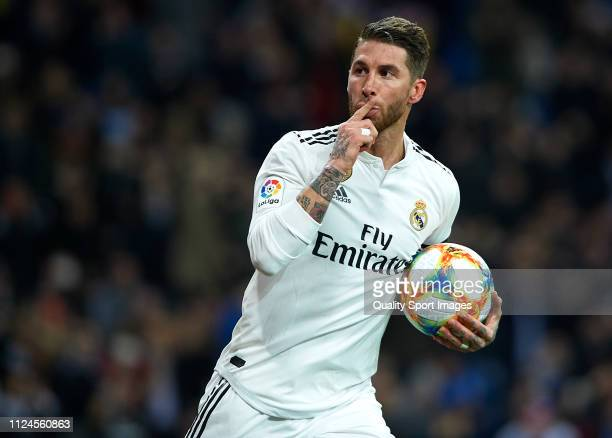 Sergio Ramos of Real Madrid celebrates after scoring his sides first goal during the Copa del Rey Quarter Final first leg match between Real Madrid...
