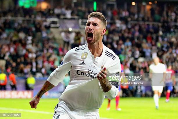 Sergio Ramos of Real Madrid celebrates after scoring his sides second goal during the UEFA Super Cup between Real Madrid and Atletico Madrid at...