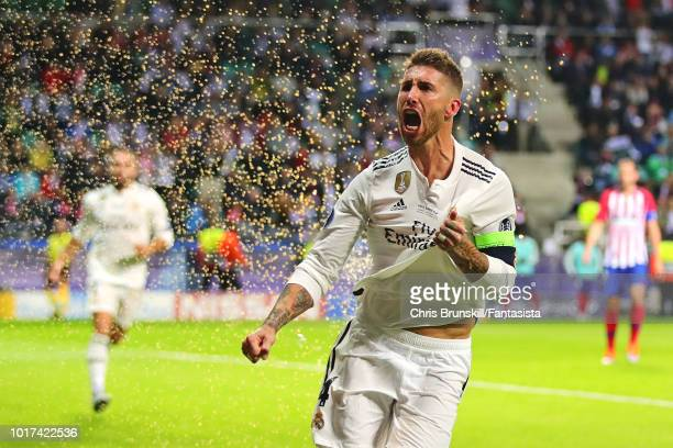 Sergio Ramos of Real Madrid celebrates after scoring his side's second goal during the UEFA Super Cup between Real Madrid and Atletico Madrid at...