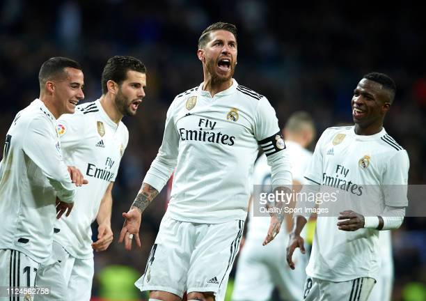 Sergio Ramos of Real Madrid celebrates after scoring his side's second goal during the Copa del Rey Quarter Final first leg match between Real Madrid...