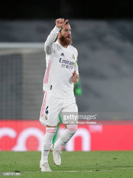 Sergio Ramos of Real Madrid celebrates after scoring his sides second goal during the UEFA Champions League Group B stage match between Real Madrid...