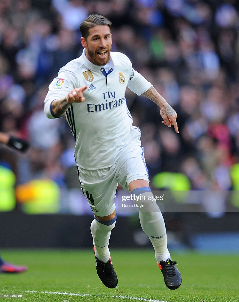 Sergio Ramos of Real Madrid celebrates after scoring his team's 1st goal during the La Liga match between Real Madrid CF and Malaga CF at the Bernabeu on January 21, 2017 in Madrid, Spain.