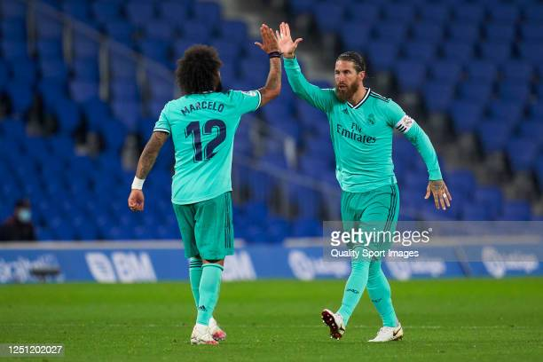 Sergio Ramos of Real Madrid celebrates after scoring his team's first goal during the La Liga match between Real Sociedad and Real Madrid CF at...