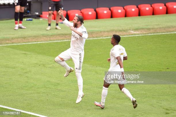 Sergio Ramos of Real Madrid celebrates after scoring his team's first goal during the La Liga match between Athletic Club and Real Madrid CF at San...
