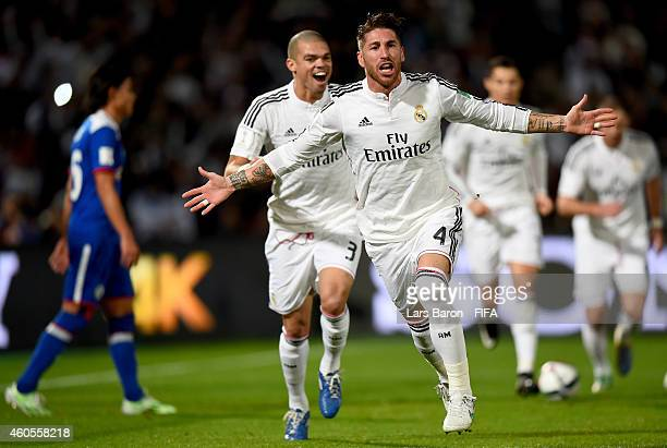 Sergio Ramos of Real Madrid celebrates after scoring his teams first goal during the FIFA Club World Cup Semi Final match between Cruz Azul and Real...
