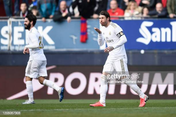 Sergio Ramos of Real Madrid celebrates after scoring his team's second goal during the La Liga match between CA Osasuna and Real Madrid CF at El...