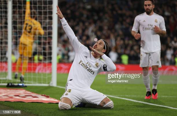 Sergio Ramos of Real Madrid celebrates after scoring his team's second goal during the La Liga match between Real Madrid CF and RC Celta de Vigo at...