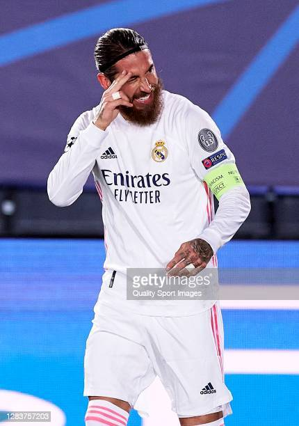 Sergio Ramos of Real Madrid celebrates after scoring his team's second goal during the UEFA Champions League Group B stage match between Real Madrid...