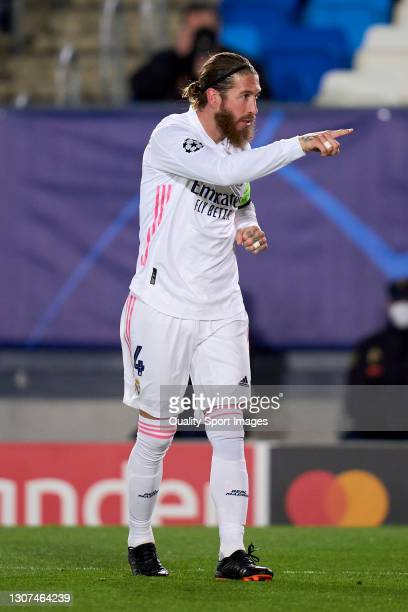 Sergio Ramos of Real Madrid celebrates after scoring his team's second goal during the UEFA Champions League Round of 16 match between Real Madrid...