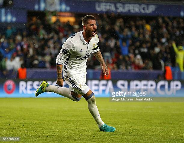 Sergio Ramos of Real Madrid celebrates after scoring his team's second goal during the UEFA Super Cup match between Real Madrid and Sevilla at...