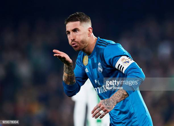 Sergio Ramos of Real Madrid celebrates after scoring his team's second goal during the La Liga match between Real Betis and Real Madrid at Benito...
