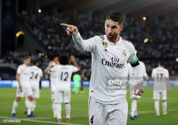 Sergio Ramos of Real Madrid celebrates after scoring his team's third goal during the FIFA Club World Cup UAE 2018 Final between Al Ain and Real...