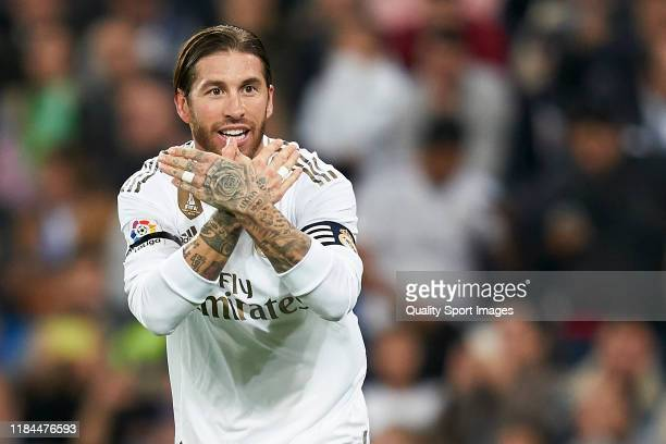 Sergio Ramos of Real Madrid celebrates after scoring his team's third goal during the La Liga match between Real Madrid CF and CD Leganes at Estadio...