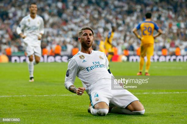 Sergio Ramos of Real Madrid celebrates after scoring his team's third goal during the UEFA Champions League group H match between Real Madrid CF and...
