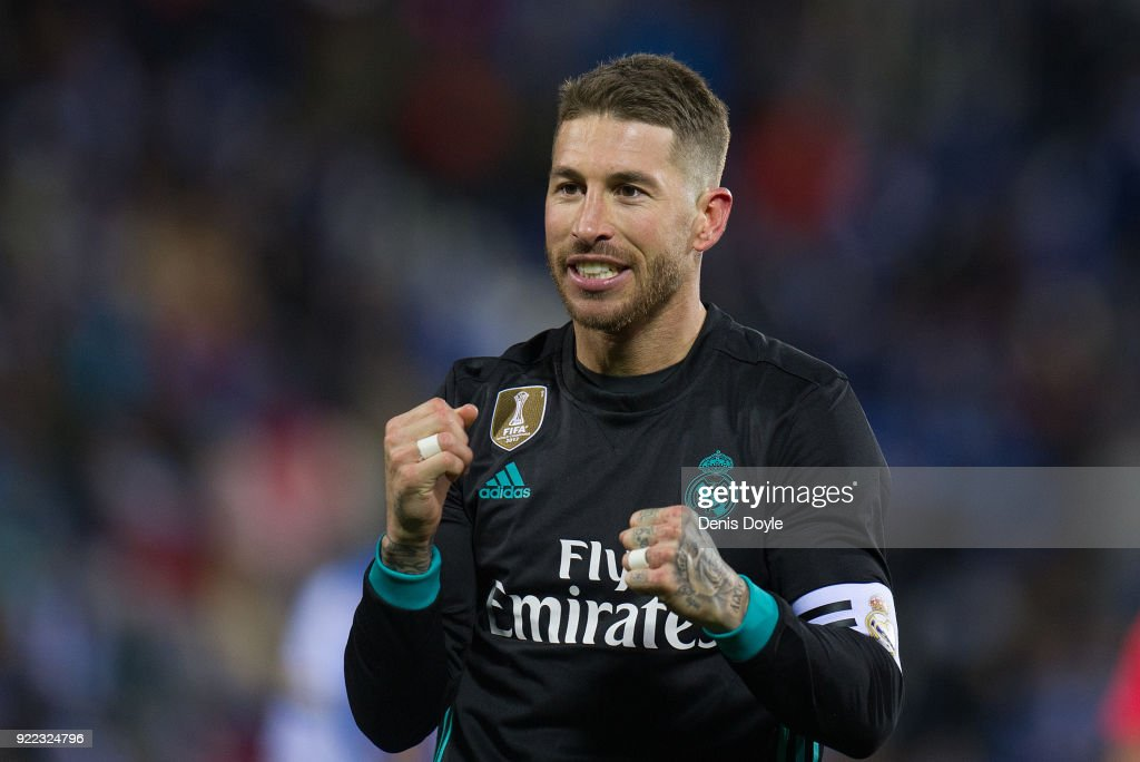 Sergio Ramos of Real Madrid celebrates after scoring his teamÕs third goal from the penalty spot during the La Liga match between Leganes and Real Madrid at Estadio Municipal de Butarque on February 21, 2018 in Leganes, Spain.