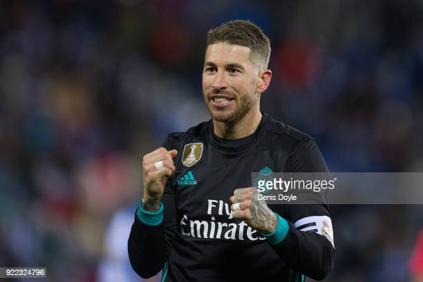 Sergio Ramos of Real Madrid celebrates after scoring his teamÕs third goal from the penalty spot during the La Liga match between Leganes and Real...