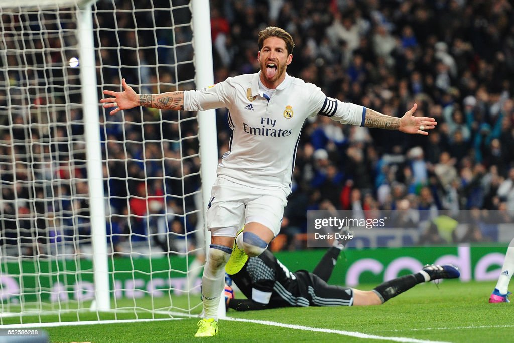Sergio Ramos of Real Madrid celebrates after scoring Real's 2nd goal during the La Liga match between Real Madrid CF and Real Betis Balompie at Estadio Santiago Bernabeu on March 12, 2017 in Madrid, Spain.