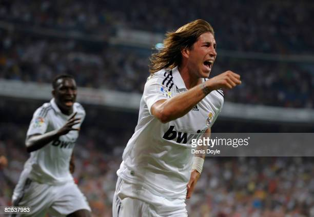 Sergio Ramos of Real Madrid celebrates after scoring Real's second goal during the Super Copa Second Leg match between Real Madrid and Valencia at...