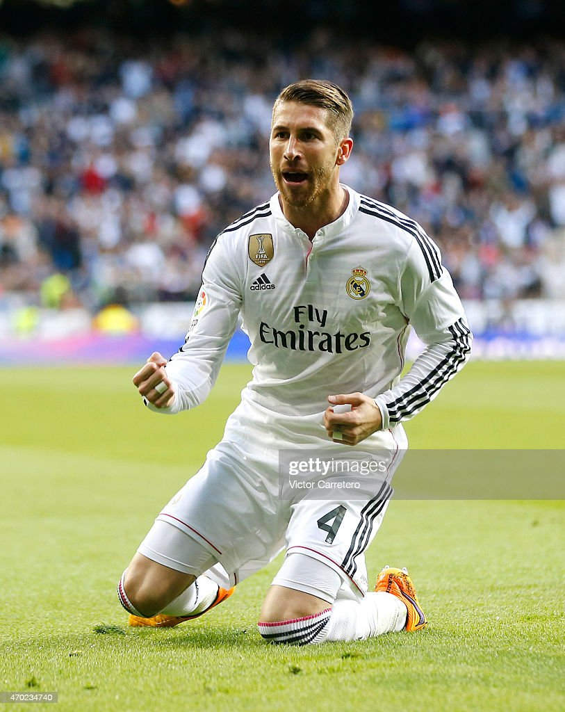 Sergio Ramos of Real Madrid celebrates after scoring the opening goal during the La Liga match between Real Madrid CF and Malaga at Estadio Santiago Bernabeu on April 18, 2015 in Madrid, Spain.