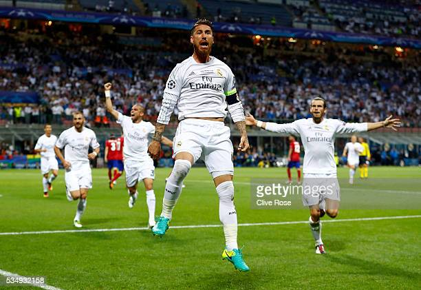 Sergio Ramos of Real Madrid celebrates after scoring the opening goal during the UEFA Champions League Final match between Real Madrid and Club...