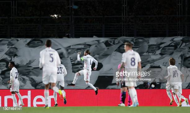 Sergio Ramos of Real Madrid celebrates after scoring their side's second goal from the penalty spot during the UEFA Champions League Round of 16...