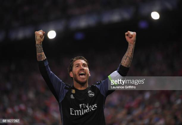Sergio Ramos of Real Madrid celebrates after the goal scored by Isco of Real Madrid during the UEFA Champions League Semi Final second leg match...