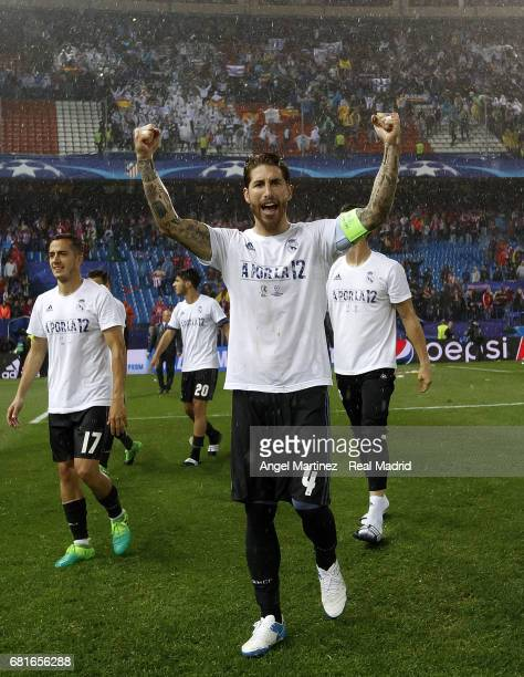 Sergio Ramos of Real Madrid celebrates after the UEFA Champions League Semi Final second leg match between Club Atletico de Madrid and Real Madrid CF...