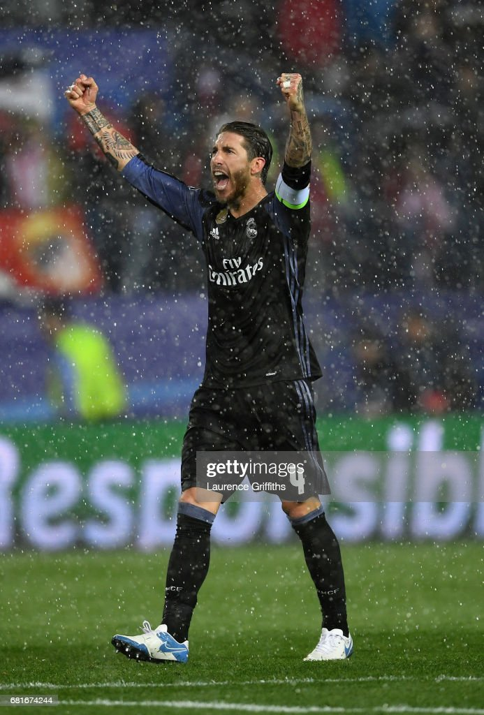 Sergio Ramos of Real Madrid celebrates after the UEFA Champions League Semi Final second leg match between Club Atletico de Madrid and Real Madrid CF at Vicente Calderon Stadium on May 10, 2017 in Madrid, Spain.