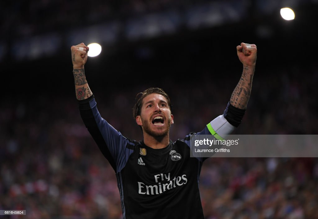 Sergio Ramos of Real Madrid celebrates after their goal during the UEFA Champions League Semi Final second leg match between Club Atletico de Madrid and Real Madrid CF at Vicente Calderon Stadium on May 10, 2017 in Madrid, Spain.
