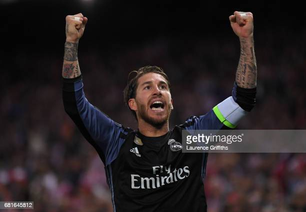 Sergio Ramos of Real Madrid celebrates after their goal during the UEFA Champions League Semi Final second leg match between Club Atletico de Madrid...