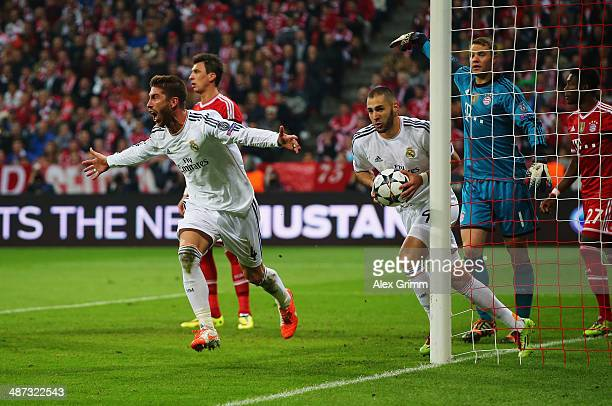 Sergio Ramos of Real Madrid celebrates as scores their second goal with a header past goalkeeper Manuel Neuer of Bayern Muenchen during the UEFA...