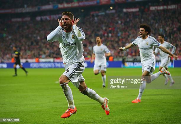 Sergio Ramos of Real Madrid celebrates as scores their second goal during the UEFA Champions League semifinal second leg match between FC Bayern...