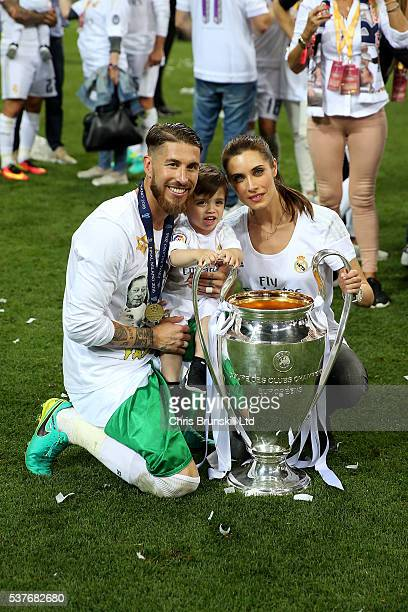 Sergio Ramos of Real Madrid celebrates at fulltime with his family following the UEFA Champions League Final between Real Madrid and Club Atletico de...