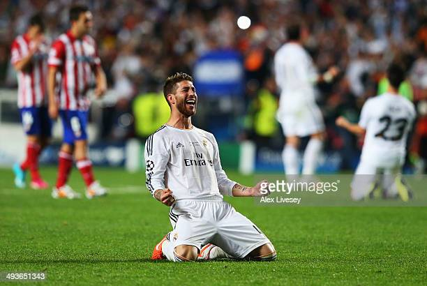 Sergio Ramos of Real Madrid celebrates during the UEFA Champions League Final between Real Madrid and Atletico de Madrid at Estadio da Luz on May 24...