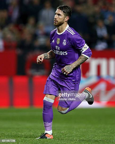 Sergio Ramos of Real Madrid celebrates his goal during the Copa del Rey round of 16 second leg match between Sevilla and Real Madrid CF at Estadio...