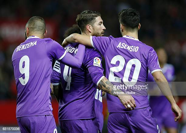 Sergio Ramos of Real Madrid celebrates his goal whit Karim Benzema and Marco Asensio during the Copa del Rey round of 16 second leg match between...
