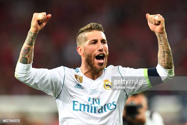 Sergio Ramos of Real Madrid celebrates his side's victory following the UEFA Champions League Final between Real Madrid and Liverpool at NSC...