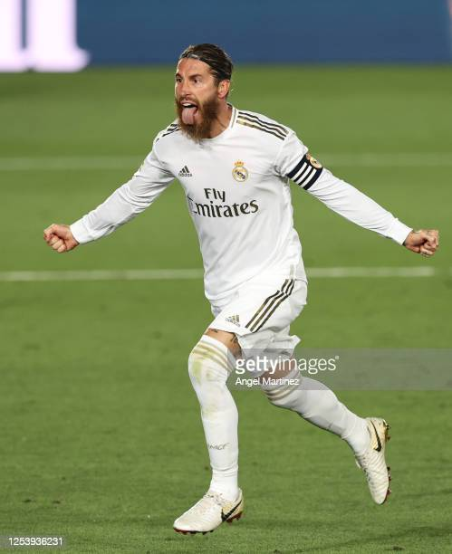 Sergio Ramos of Real Madrid celebrates his team's first goal during the Liga match between Real Madrid CF and Getafe CF at Estadio Alfredo Di Stefano...