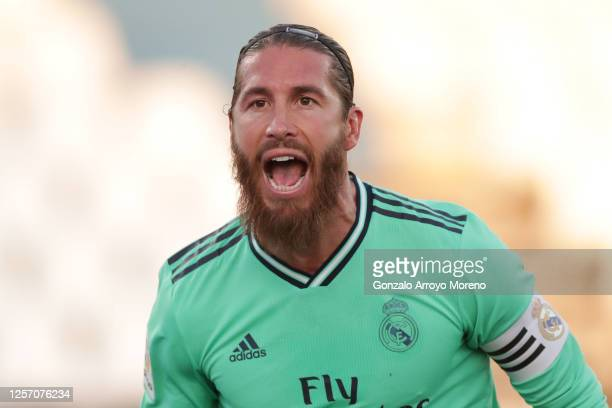 Sergio Ramos of Real Madrid celebrates his team's first goal during the Liga match between CD Leganes and Real Madrid CF at Estadio Municipal de...