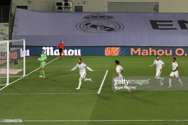 Sergio Ramos of Real Madrid celebrates his team's first goal with teammates during the Liga match between Real Madrid CF and Getafe CF at Estadio...