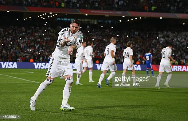 Sergio Ramos of Real Madrid celebrates scoring a goal during the FIFA Club World Cup Semi Final match between Cruz Azul and Real Madrid at Le Grand...