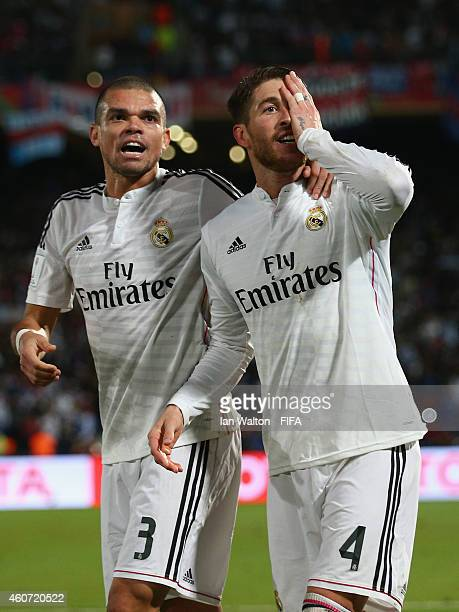Sergio Ramos of Real Madrid celebrates scoring a goal during the FIFA Club World Cup Final between Real Madrid and San Lorenzo at Marrakech Stadium...