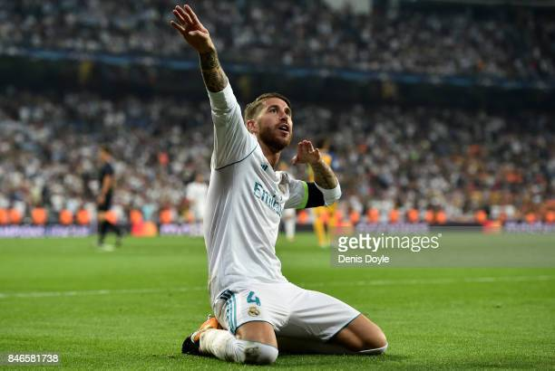 Sergio Ramos of Real Madrid celebrates scoring his sides third goal during the UEFA Champions League group H match between Real Madrid and APOEL...
