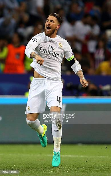 Sergio Ramos of Real Madrid celebrates scoring his team's first goal during the UEFA Champions League Final between Real Madrid and Club Atletico de...