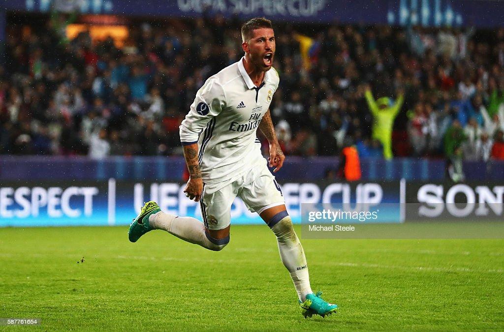 Real Madrid v Sevilla: UEFA Super Cup : Foto jornalística